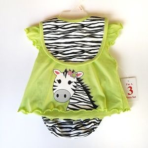 Other - NWT 3 pc zebra outfit size 0-3 months